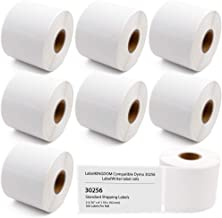 """Label KINGDOM Compatible Paper Label Replacement for Dymo 30256 (2-5/16"""" X 4"""") LW Label Adhesive Large Shipping White Paper Label Roll for LabelWriter 400 450 Turbo Duo (8 Rolls 2400 Labels)"""