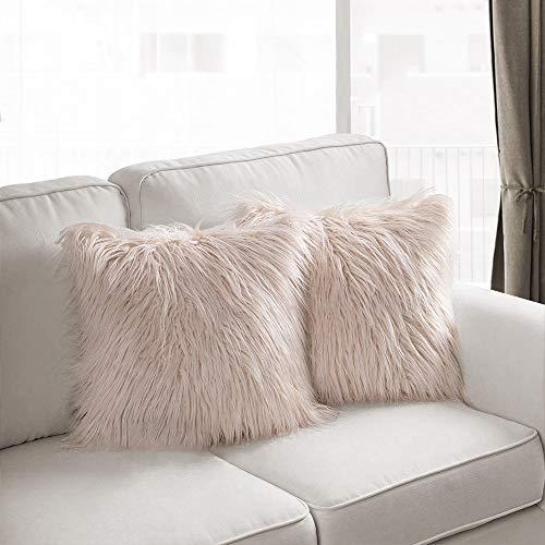 Dricar 2 fundas de almohada decorativas de lujo de piel sintética, funda de cojín para sofá, dormitorio, coche 45 x 45 cm Beige