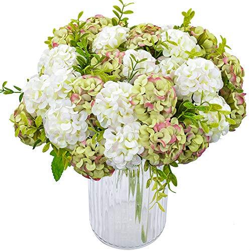 XONOR 4 Packungen Künstliche Seide Hydrangea Gefälschte Braut Brautjungfer Blumenstrauß für Hochzeitsfest-Dekoration, 10 Kopf, 36 cm (weiß Grün)