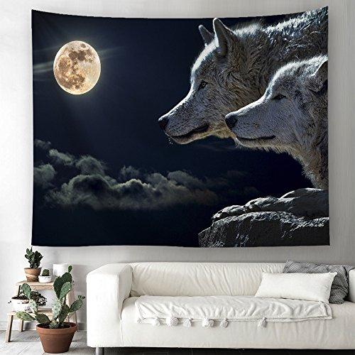 Wolf Lune Tapisserie murale en tapisserie Motif ciel étoilé 230X150cm Couleur 3