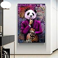 KDSMFAグラフィティアートペインティングマネーダラーパンダウォールアートキャンバスポスターとプリントリビングルームのモダンな壁の写真家の装飾/ 50x70cm(フレームなし)