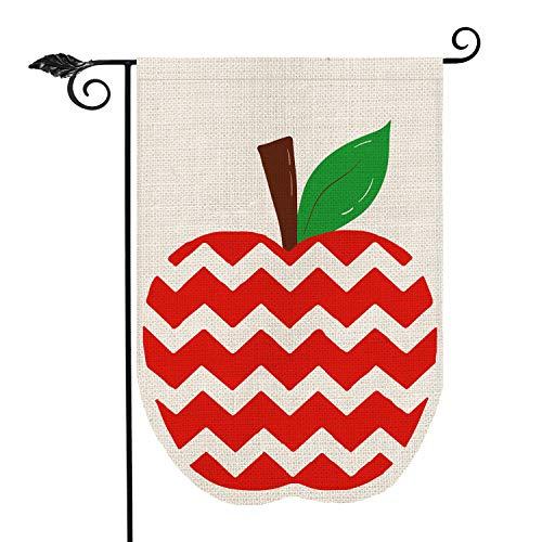 AVOIN Chevron Apple Garden Flag Double Sided, Back to School First Day of School Teacher Appreciation Rustic Farmhouse Yard Outdoor Decoration 12.5 x 18 Inch