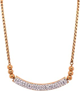 Bevilles Stainless Steel Rose Pave Crystal ID Bolo Necklace