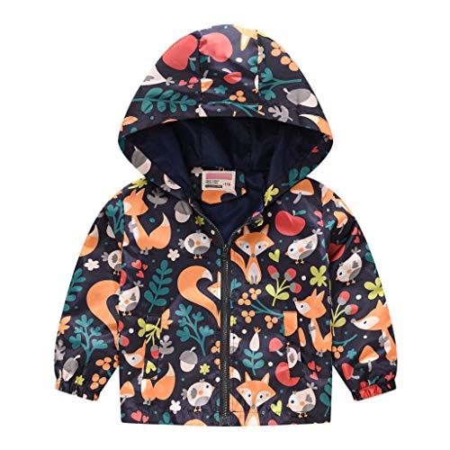 WEUIE Toddler Boys Girls Jacket Hooded Trench Lightweight Kids Coats Windbreaker Outdoor Cute Dust Coats 1T-5T