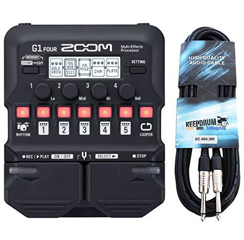 Zoom G1 FOUR Multi-Effektgerät für Gitarre + keepdrum Klinkenkabel 3m