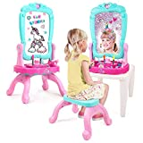 FabStudio 3-in-1 Vanity Easel   Kids Pretend Play Vanity Set & Creativity Play, drawable Mirror with 36 Magnetic Letters, Stool, hairdryer & Comb Toys - Girls 3 Years & up