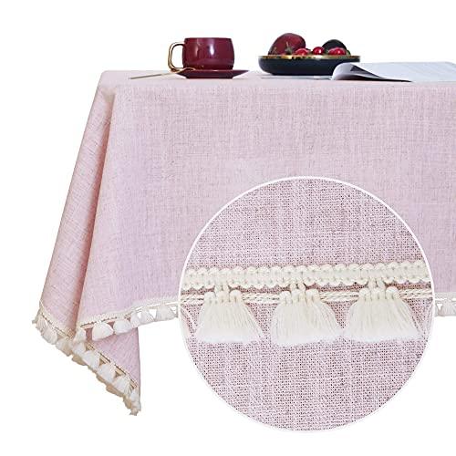 Deconovo Mantel Mesa Rectangular Decorativo Impermeable con Borlas de Cocina 137x274cm Rosa ✅