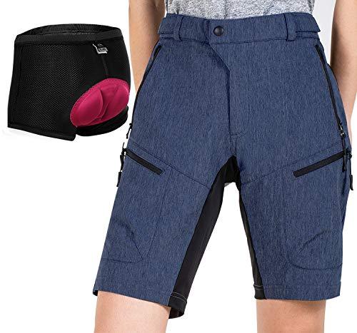 Cycorld MTB Shorts Damen MTB Hose, Atmungsaktiv Radhose Damen Outdoor Bike Shorts mit Verstellbaren Klettverschlüssen (NavyBlue with Pad, 2XL)