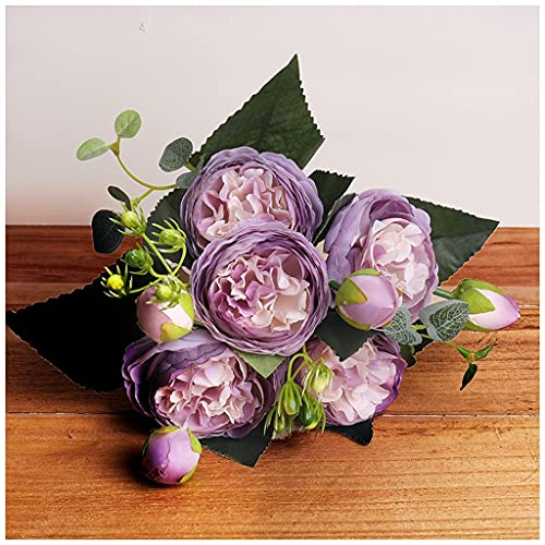 YYOBK TS Ramo De Seda De 30 Cm Ramo Flores Falsas, Flores De Simulación De Peonía, 5 Cabezas Grandes Y 4 Brotes Pequeños, Decoraciones De Boda Nupciales (Color : New Purple)