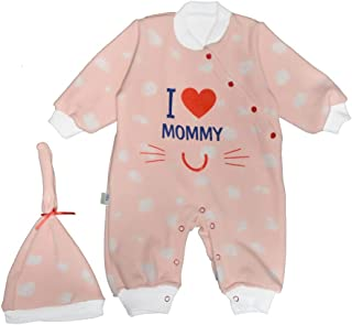 Baby Shoora botanical fibers baby bodysuit & hat printed I love mummy for girls simon-3-6Month