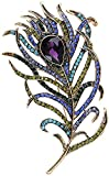 SHAFIRE Peacock Feathers Brooch Alloy Rhinestone Brooch Pin for Women's