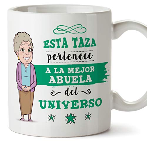 MUGFFINS Taza Abuela - Esta Taza Pertenece a la Mejor Abuela del Universo - Taza Desayuno/Idea Regalo Original/Día de la Madre para Abuelitas. Cerámica 350 mL