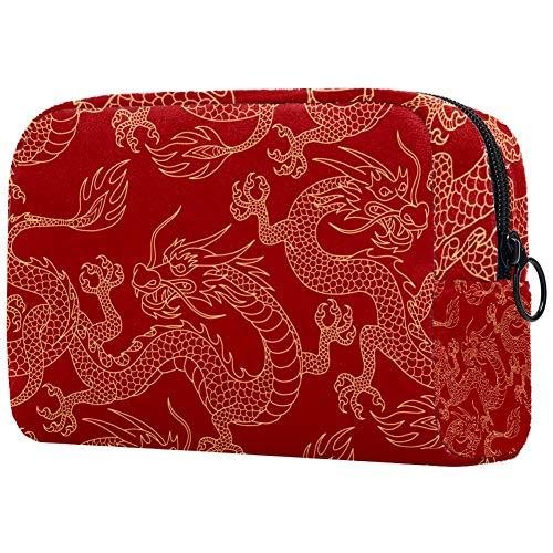 Kosmetiktasche mit Weihnachtsmann-Schlitten, tragbar, für Reisen, Kosmetiktasche, Kulturbeutel, groß, für Damen und Mädchen mehrfarbig09 18.5x7.5x13cm/7.3x3x5.1in
