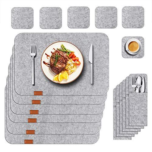 Funkprofi Tischset aus Filz 18er Set, Abwaschbares Edles Platzset mit Filzuntersetzer Besteckbeutel, Abwischbare Tischuntersetzer, Hitzebeständig Anti-Rutsch Platzdeckchen (Grau)