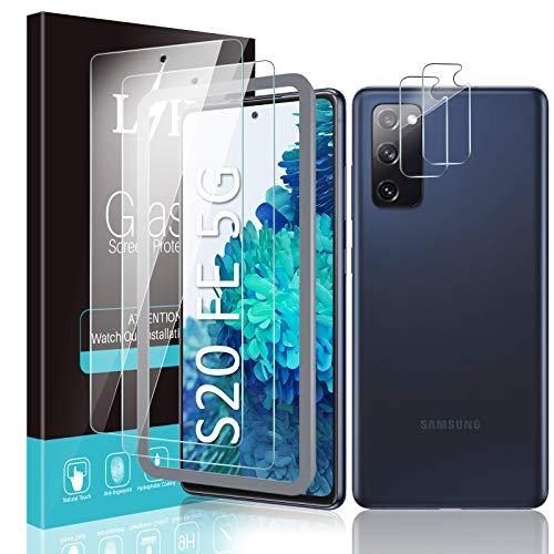 LϟK 4 Pezzi Vetro Temperato Compatibile con Samsung Galaxy S20 Fe Fan Edition 5G - 2 Pezzi Pellicola Protettiva + 2 Pezzi Fotocamera Posteriore Pellicola - 9H Durezza Schermo Protettivo