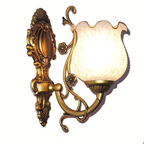européenne Chevet Salon Lampes de mur Creative Métal Doré lampe Corps blanc neige en verre Abat-jour Chambre à coucher Applique murale balcon Allée Miroir avant éclairage mural Fixations