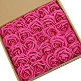 N&T NIETING Artificial Flowers, 25pcs Hot Pink Artificial Foam Roses Decoration DIY for Wedding Bridesmaid Bridal Bouquets Centerpieces, Home Display, Valentines Day Gifts for Him Her Kids