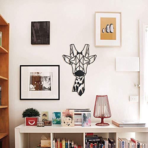 Hoagard Jirafa Metal Wall Art 33 cm x 51 cm | Arte geométrico de pared y decoración de pared para amantes de los animales