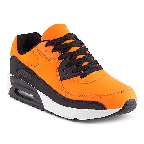 FiveSix Herren Damen Sportschuhe Dämpfung Sneaker Laufschuhe Orange Schwarz Schwarz EU 44