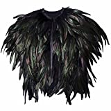 Feather Shoulder Cape Black Steampunk For Halloween Costume Cosplay