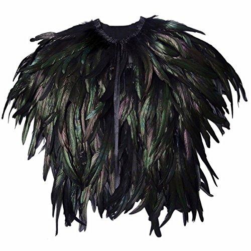 Huntfgold Gothic Natürliche Echte Feder Umhang Weste Cape Shrug für Halloween Faschingsfest Kostüme