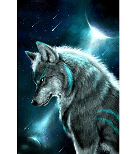 sunnymi Weihnachten 5D Diamond Painting Kürbiswagen Bär Wolf Gehorsam Hund Eule Kreuzstich Living/Art und Weise Geklebte Stickerei DIY Malerei (Auto cool Wolf, 25X35CM)