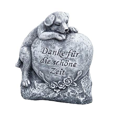 Grabschmuck Grabstein Hund Danke für die schöne Zeit, Frost- und wetterfest, massiver Steinguss