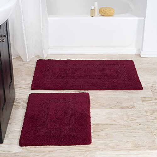 Cotton Bath Mat Set- 2 Piece 100 Percent Cotton Mats- Reversible, Soft, Absorbent and Machine Washable Bathroom Rugs By Lavish Home (Burgundy)
