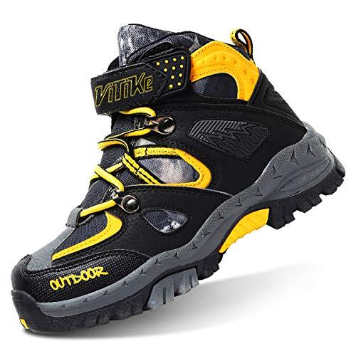 Botas de Senderismo niños Zapatos de Senderismo de Invierno Forro de Nieve Piel Caliente Botas de montaña al Aire Libre Negro Azul 32 EU