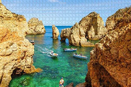 Rompecabezas para adultos Portugal Costa de Lagos Algarve Puzzle 1000 piezas Rompecabezas de madera para adultos