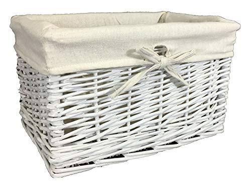 Gran variedad de cestas de mimbre. Forro lavable. Soluciones de almacenamiento. ratán y mimbre, Blanco, 20 ltr
