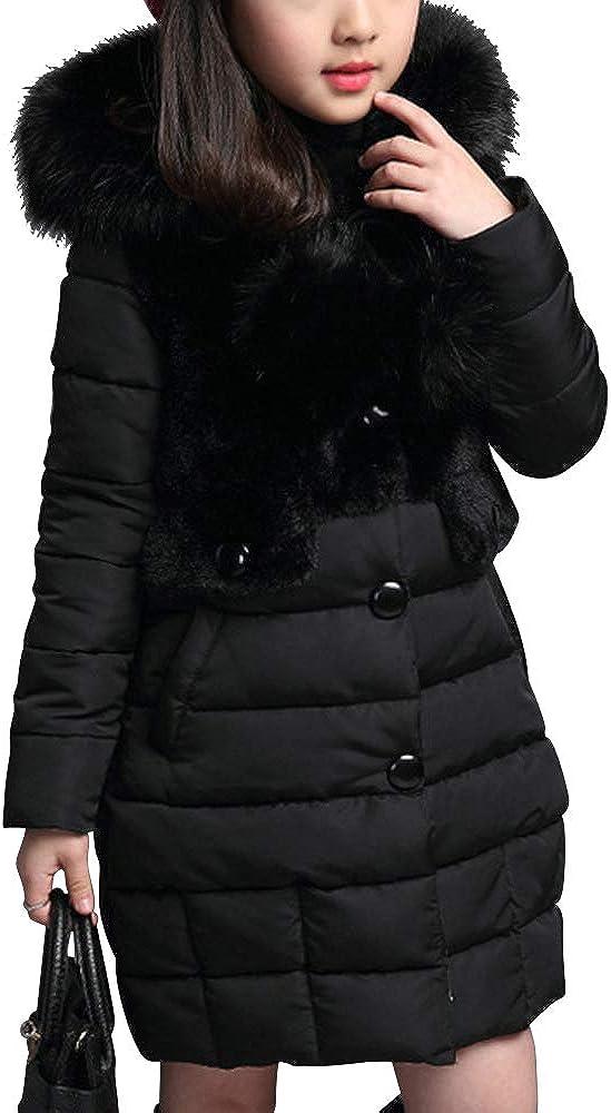 Phorecys Girls Winter Warm Coats Hooded Faux Fur Fleece Jacket Single-breasted Overcoats Outwear with Hood
