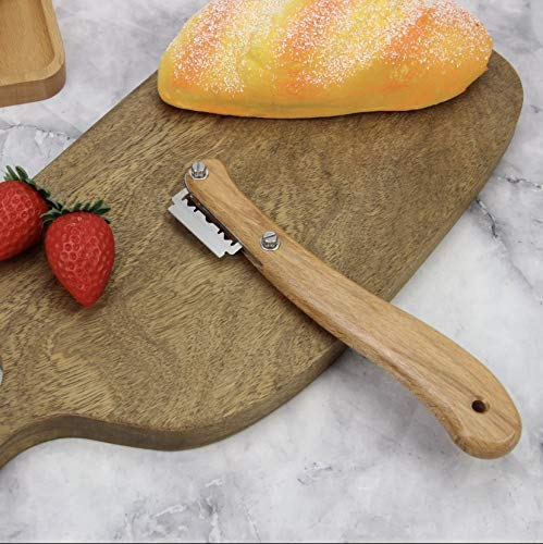 SHIRTON D BEST bread lame cutter lame knife bread knife with well crafted wooden handle - dough scoring blade lame bread tool lame bread set bread scoring knife with 5 replaceable blades.