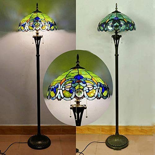 Vintage Tiffany Green Art Glass Living Room Floor Lamp with Switch Ø40cm Baroque Handmade Stained Glass Lampshade Art Deco Reading Light Bedroom Office Creative Standing Light 165cm Tall Night Light