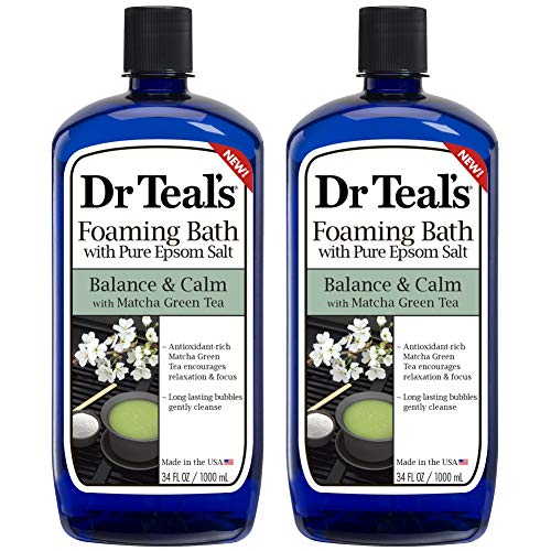 Dr Teal's Epsom Salt Antioxidant Rich Matcha Green Tea Foaming Bath - Balance and Calm - Pack of 2, 34 Oz ea - Moisturize your Skin, Relieve Stress and Sore Muscles, Long Lasting Bubbles
