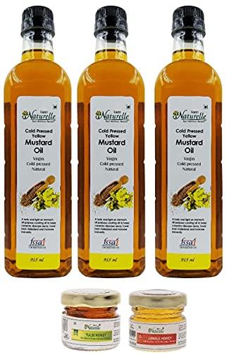 Farm Naturelle Virgin Kachi Ghani Yellow Mustard Oil, 915ml (Pack of 3) with Free tulsi Honey 40gx2