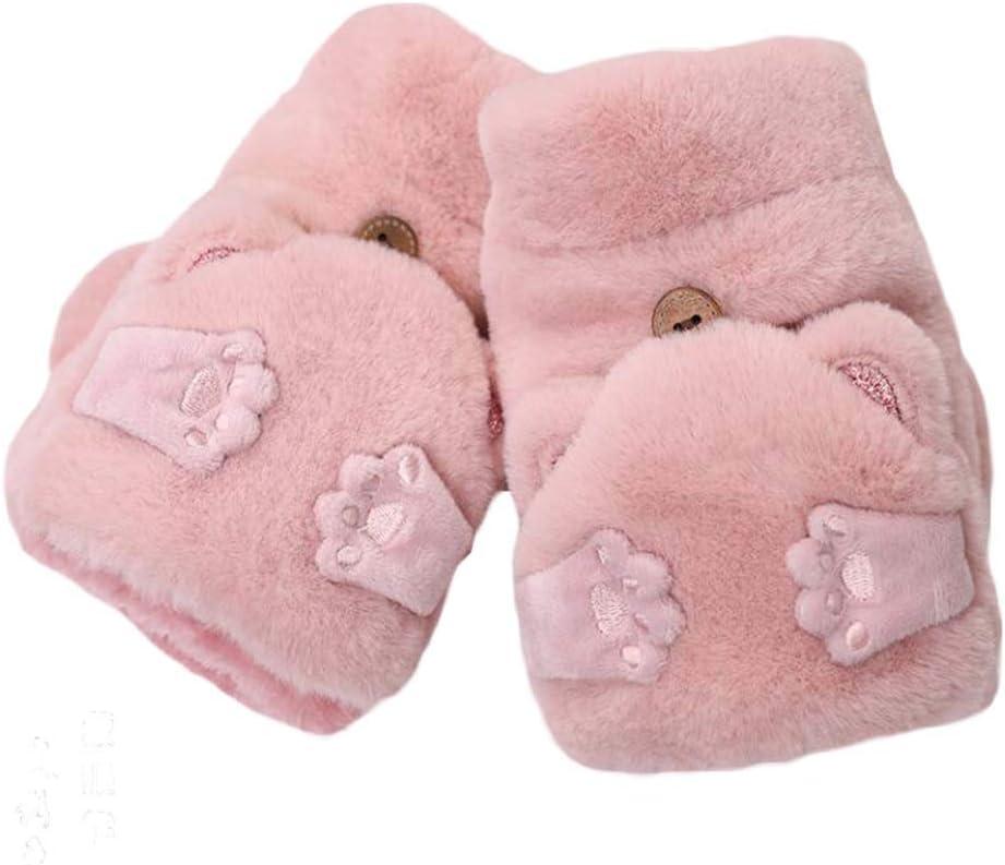 Panda Legends 1 Pair Womens Girls Fingerless Winter Warm Flip Mitten Cute Bear Ear Gloves Christmas Birthday Gift, Pink