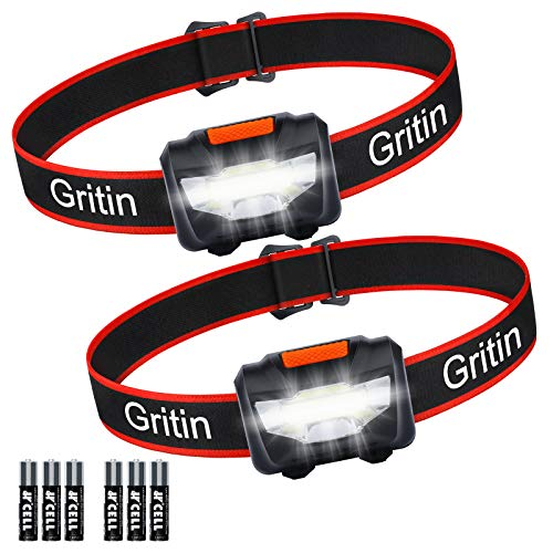 Gritin Linterna Frontal LED, [2 Pack] Linterna Cabeza COB Super Brillante 3...