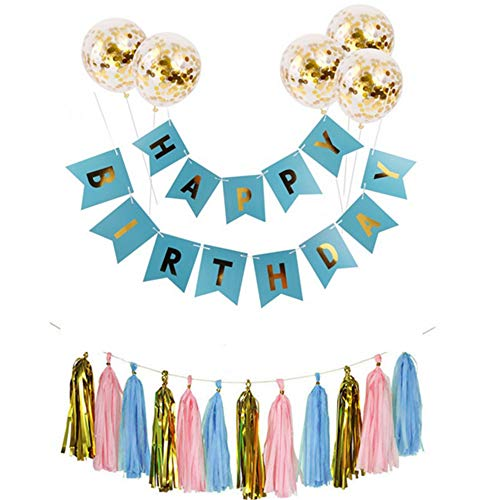 Nuluxi Tassel Garland Banner Confetti Balloon Balloon Shiny Gold Letters Happy Birthday Banner Gold Latex Confetti Sequin Balloon for Birthday Wedding Party Ceremonies Supplies Decorations (Blue)