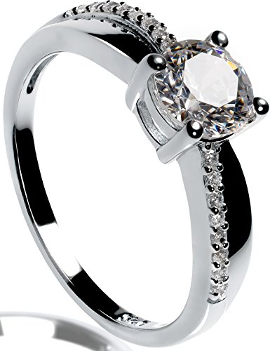 Lars Benz Damen-Ring Verlobungsring Silber 925 Swarovski Zirkonia 1,4 Karat 53-mm