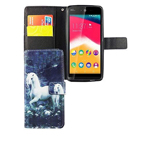 König Design Handyhülle Kompatibel mit Wiko Rainbow Jam Handytasche Schutzhülle Tasche Flip Case mit Kreditkartenfächern - Einhorn auf Wiese Weiß Grün