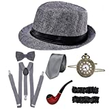 CHUANGLI 1920S Mens Great Gatsby Accessories Set Roaring 20s 30s Retro Gangster Costume(Panama Gray)