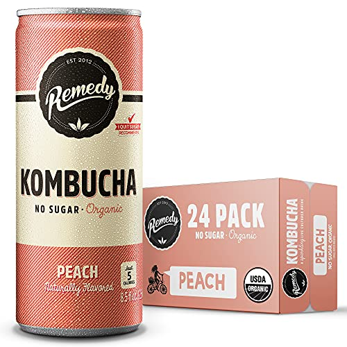 Remedy Raw Organic Kombucha Tea - Sparkling Live Cultured Drink - Sugar Free Peach - 8.5 Fl Oz Can, 24-Pack