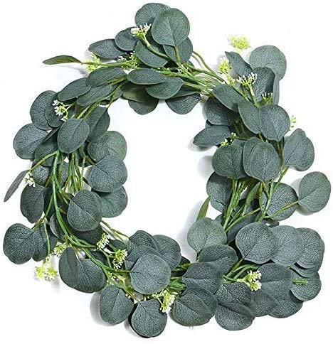JIAJBG Artificial Flowers Artificial Green Eucalyptus Leaves Wreath Seed Wreath Vine Grape Vine Green Plant for Wedding Arch Table Runner Farmhouse Party Background Curtain Baby Sho