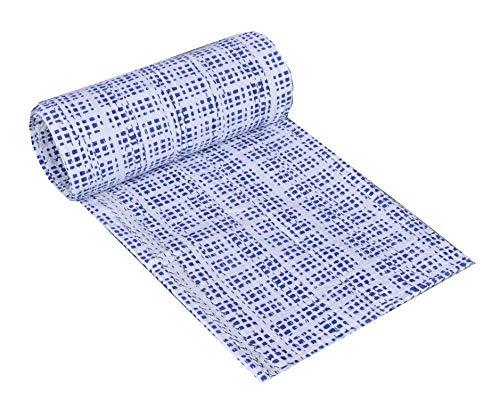 Yuvancrafts Colcha Kantha con estampado de bloques de color azul indio con estampado tradicional de mandala.