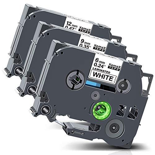 Xemax kompatibel Etikettenband Ersatz für Brother P-Touch Tze-211 Tze-221 Tze-231 Kassette Bänder für PT-E110 PT-H110 PT-D200 PT-P750W PT-H105 PT-1000, Schwarz auf weiß, 6mm/9mm/12mm x 8m, 3er-Pack