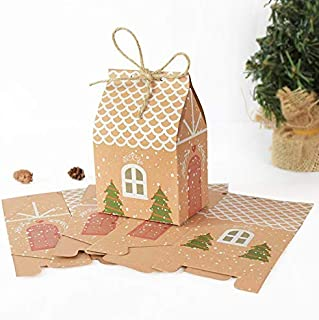 None/Brand 10pcs House Shape Christmas Candy Gift Boxes with Ropes Xmas Tree Hanging Cookie Candy Packaging Merry Christma...
