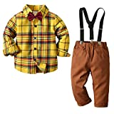 LittleBoysSpringClothesKidsGentlemanOutfitsLongSleeveBowties Plaid PoloShirtTops+SuspendersPantsSet Yellow