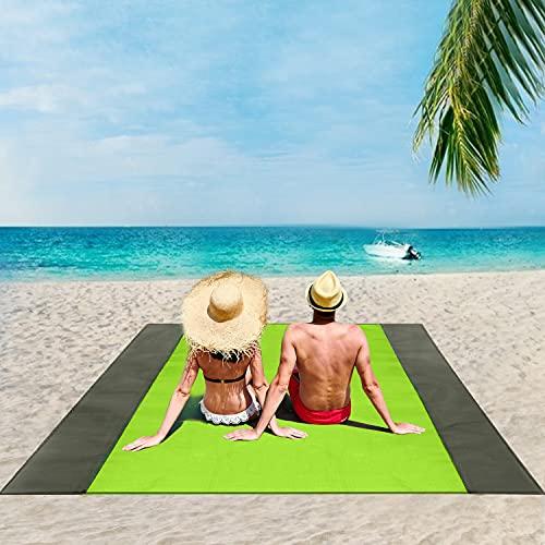 ISOPHO Beach Blanket, 79''×83'' Picnic Blankets Waterproof Sandproof for 4-7 Adults, Oversized…