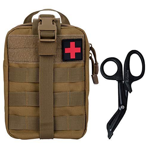 Krisvie Erste Hilfe Molle Tasche, EMT-Beutel, Abnehmbare Taktische Medizinische Tasche für Rettungskräfte Camping Boot Jagd Wandern Haus Auto und Abenteuer(Tan)